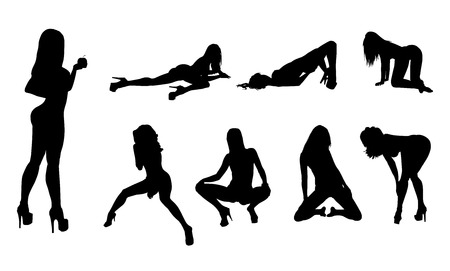 Collection of high quality women silhouettes illustration Illustration