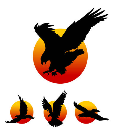 Flying eagles silhouettes on sun background, illustration.