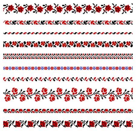 illustraties van Oekraïense borduurwerk ornamenten, patronen, frames en grenzen.