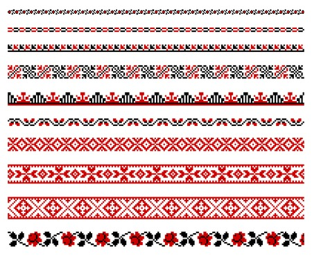 illustrations of ukrainian embroidery ornaments, patterns, frames and borders. Illustration