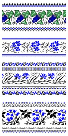 illustrations of ukrainian embroidery ornaments, patterns, frames and borders. Stock Vector - 8877452