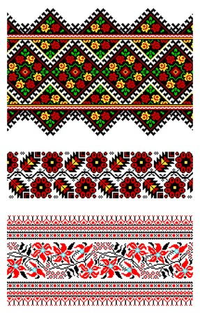illustrations of ukrainian embroidery ornaments, patterns, frames and borders. Vector
