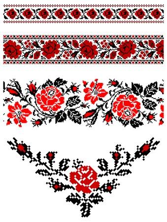 ilustraciones de ornamentos bordados ucraniano, patrones, marcos y bordes. Ilustración de vector
