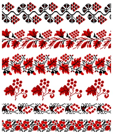 illustrations of ukrainian embroidery ornaments, patterns, frames and borders. Stock Vector - 8877441