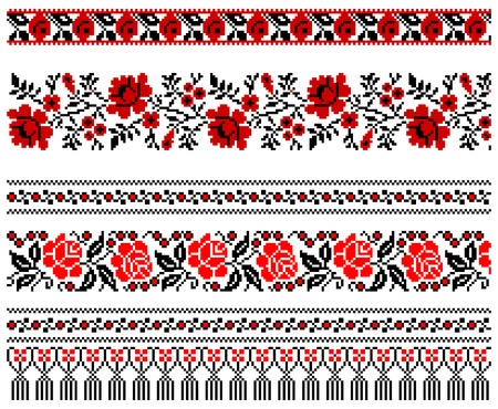 needlework: illustrations of ukrainian embroidery ornaments, patterns, frames and borders. Illustration