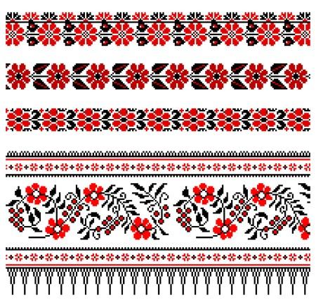 broderie: illustrations des ornements de broderie ukrainien, les patrons, les cadres et les fronti�res. Illustration