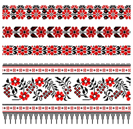 embroidery flower: illustrations of ukrainian embroidery ornaments, patterns, frames and borders. Illustration