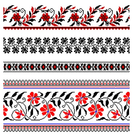 fringe: illustrations of ukrainian embroidery ornaments, patterns, frames and borders. Illustration