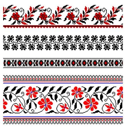 rushnik: illustrations of ukrainian embroidery ornaments, patterns, frames and borders. Illustration