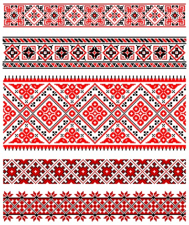 stitch: illustrations of ukrainian embroidery ornaments, patterns, frames and borders. Illustration