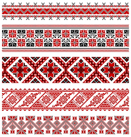 illustrations of ukrainian embroidery ornaments, patterns, frames and borders. Stock Vector - 8877449