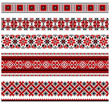 ucraniano: illustrations of ukrainian embroidery ornaments, patterns, frames and borders. Ilustra��o