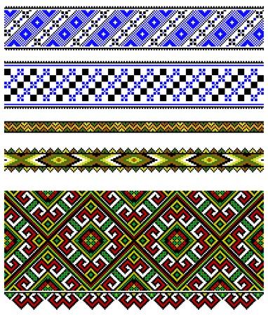 needlework: illustrazioni di ornamenti Ucraina ricamo, modelli, cornici e bordi. Vettoriali
