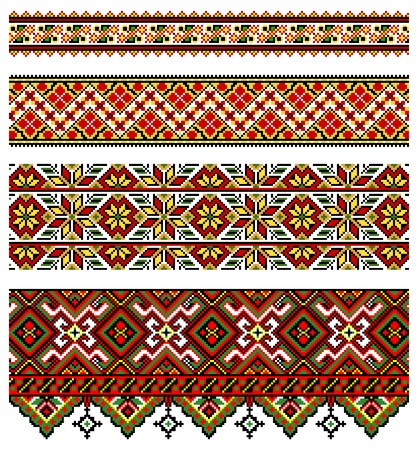 ethnic pattern: illustrations of ukrainian embroidery ornaments, patterns, frames and borders. Illustration