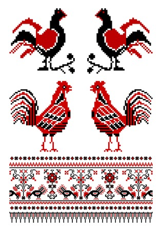 illustrations of ukrainian embroidery ornaments with birds