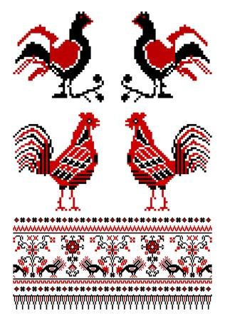 bordados: ilustraciones de adornos de Ucrania bordado con aves Vectores