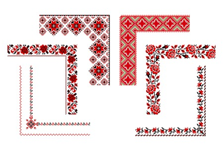 illustrations of ukrainian embroidery ornaments, corners, frames and borders.