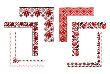 needlework: illustrazioni di ricamo ucraino ornamenti, angoli, cornici e bordi. Vettoriali