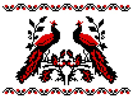 illustrations of ukrainian embroidery ornament with birds
