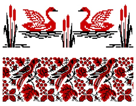 rushnik: illustrations of ukrainian embroidery ornament with birds