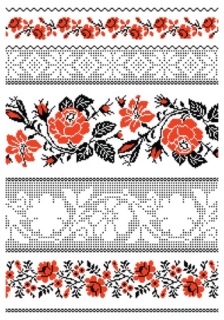 illustrations of ukrainian embroidery ornaments, patterns, frames and borders.