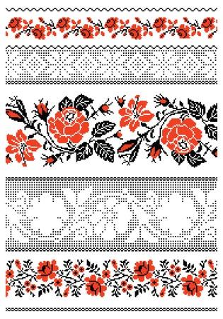 bordados: ilustraciones de ornamentos bordados ucraniano, patrones, marcos y bordes. Vectores