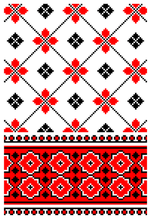 dingbat: illustrations of ukrainian embroidery ornaments, patterns, frames and borders. Illustration