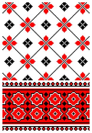 dingbat: illustrations of ukrainian embroidery ornaments, patterns, frames and borders. Illustration