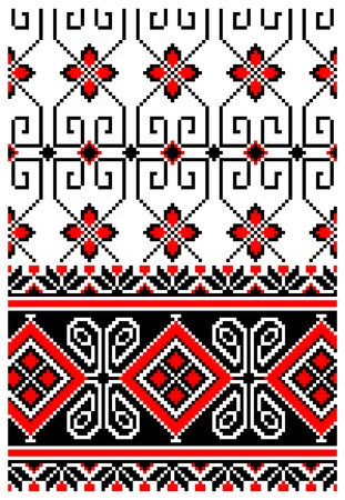 illustrations of ukrainian embroidery ornaments, patterns, frames and borders. Çizim