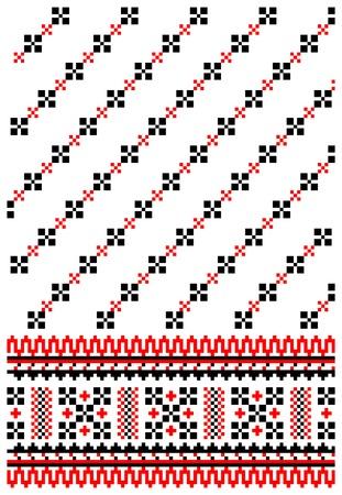 needlework: illustrations of ukrainian embroidery ornaments, patterns, frames and borders. Illustration