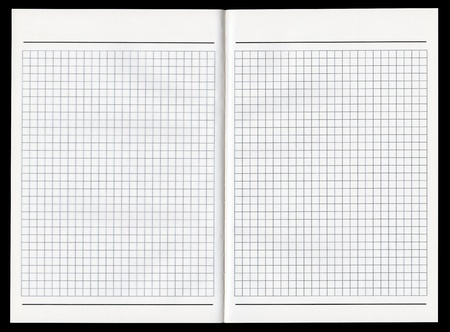 Blank notebook double-page spread on a black background
