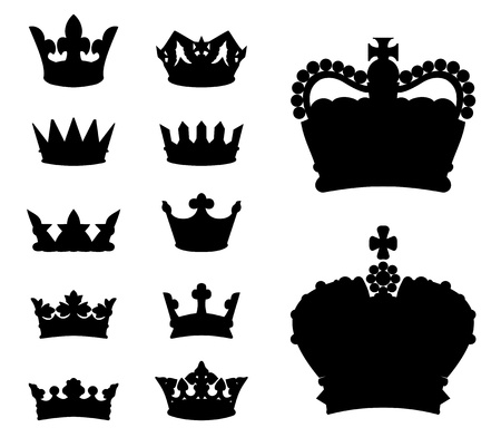 king crown: Set of various crown silhouettes, vector illustration Illustration