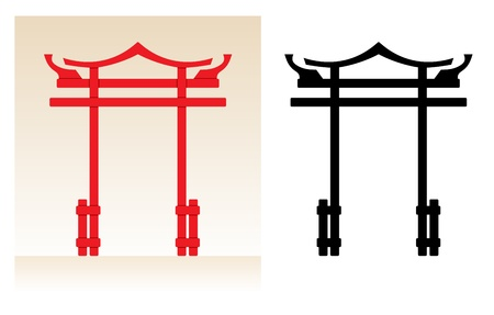 Abstract japan tori gate, color illustration and black silhouette