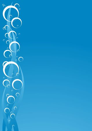 Abstract blue water with bubbles, vector background Vector
