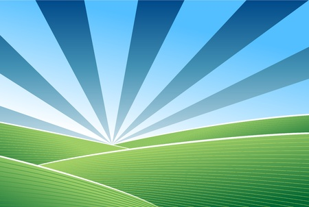 farm land: Abstract green field and blue sky vector background Illustration