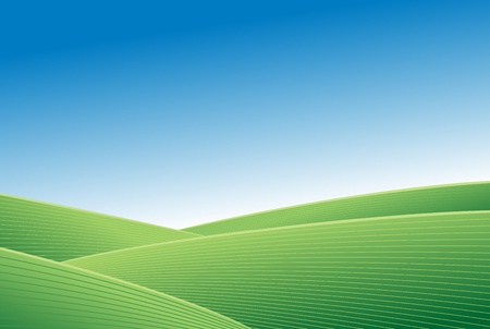 clear sky: Abstract green field and blue sky vector background Illustration