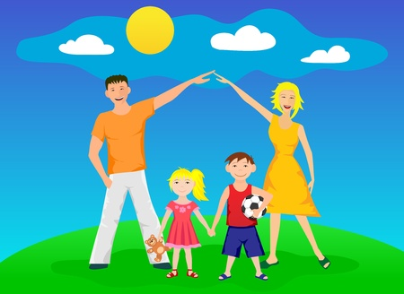 Happy family standing on a nature glade and smile Vector