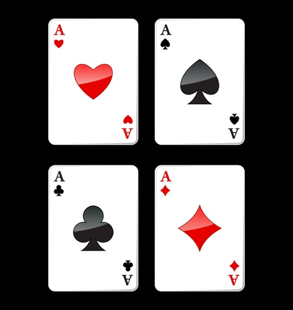 cards poker: Four aces playing cards, four of a kind, poker winning combination, vector