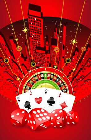 Abstract gambling background with roulette, playing cards and dices photo