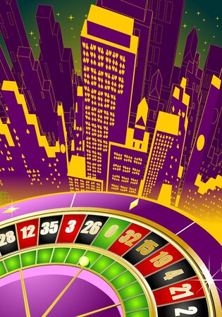 Abstract gambling illustration with roulette wheel and fantastic architecture illustration