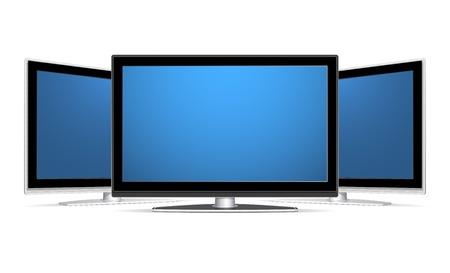 plasma: Three plasma LCD TV recievers with blank blue screens.