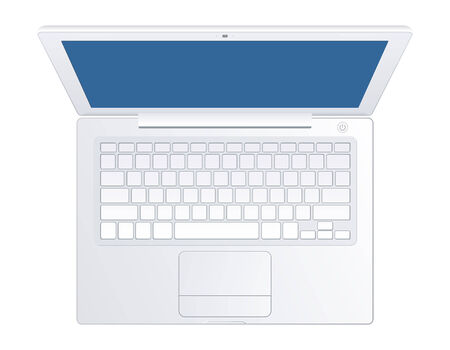 Realistic grey laptop with empty display isolated on white background.