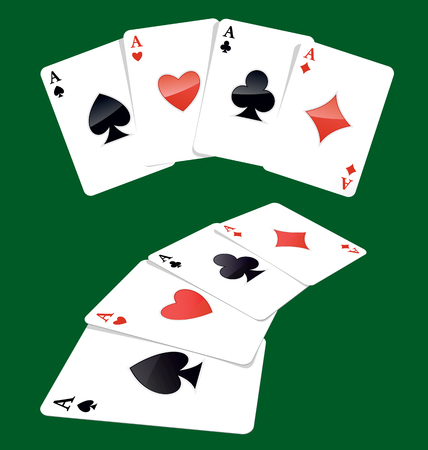 4 of a kind: Four aces playing cards, four of a kind, poker winning combination.