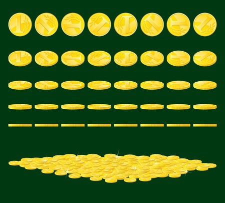 Golden coin rotated in various positions and heap of coins. Illustration