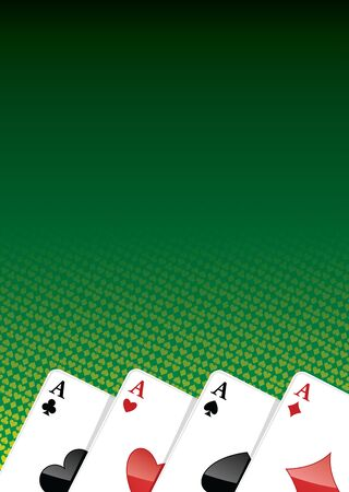Poker background with four aces.