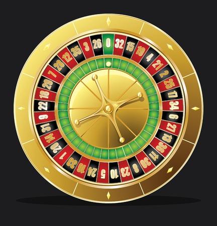 Detailed casino roulette wheel.