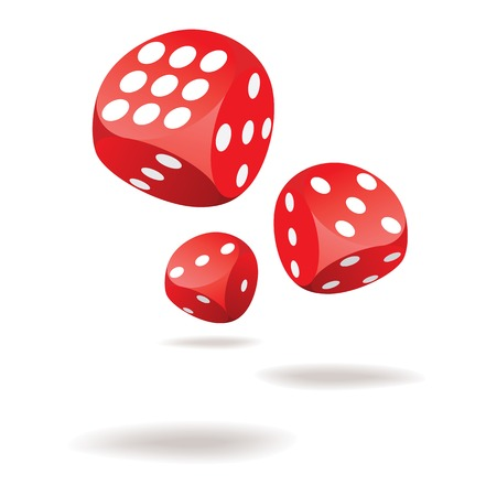 Red gambling dices in action. Illustration