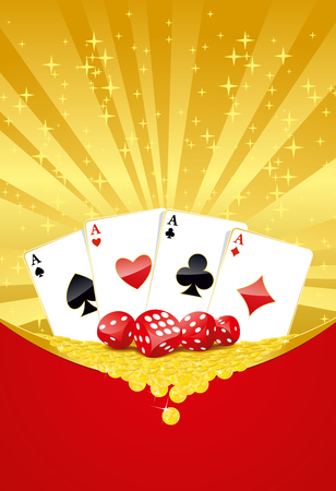 Abstract gambling background with playing cards, dices and heap of gold coins.