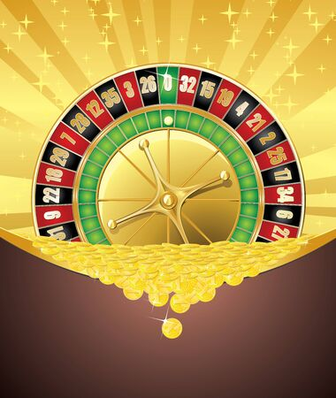 Abstract gambling background with roulette wheel and heap of falling golden coins.