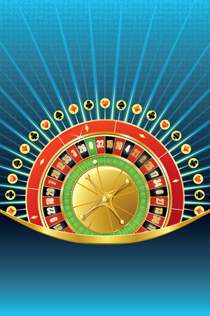 Abstract gambling background with roulette wheel and empty space.